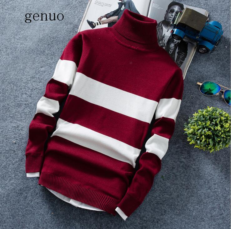 Autumn Winter Men's Fashion Turtleneck Pullovers Sweater Knitted Long Sleeve Stripe Casual Youth Slim Soft Men Clothes