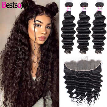 [Bestsojoy] Loose Deep Bundles With 13x4 Lace Frontal M Remy Human Hair 3 Bundles With Ear To Ear Lace Frontal Brazilian Hair - DISCOUNT ITEM  50% OFF All Category