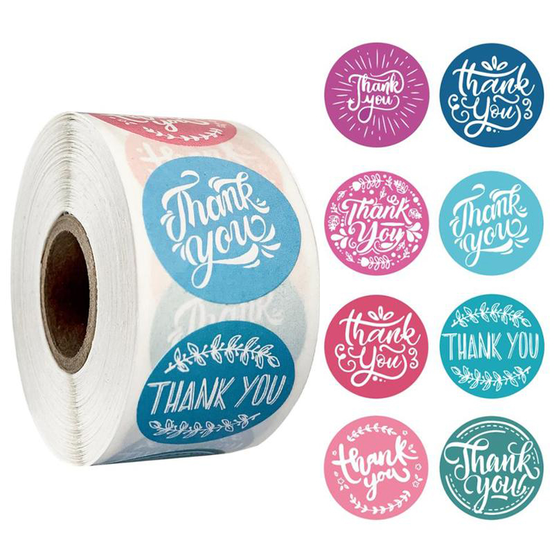 500Pcs/roll 8styles Thank You Sticker For Seal Labels Round Floral Multi Color Labels Sticker Handmade Offer Stationery Sticker