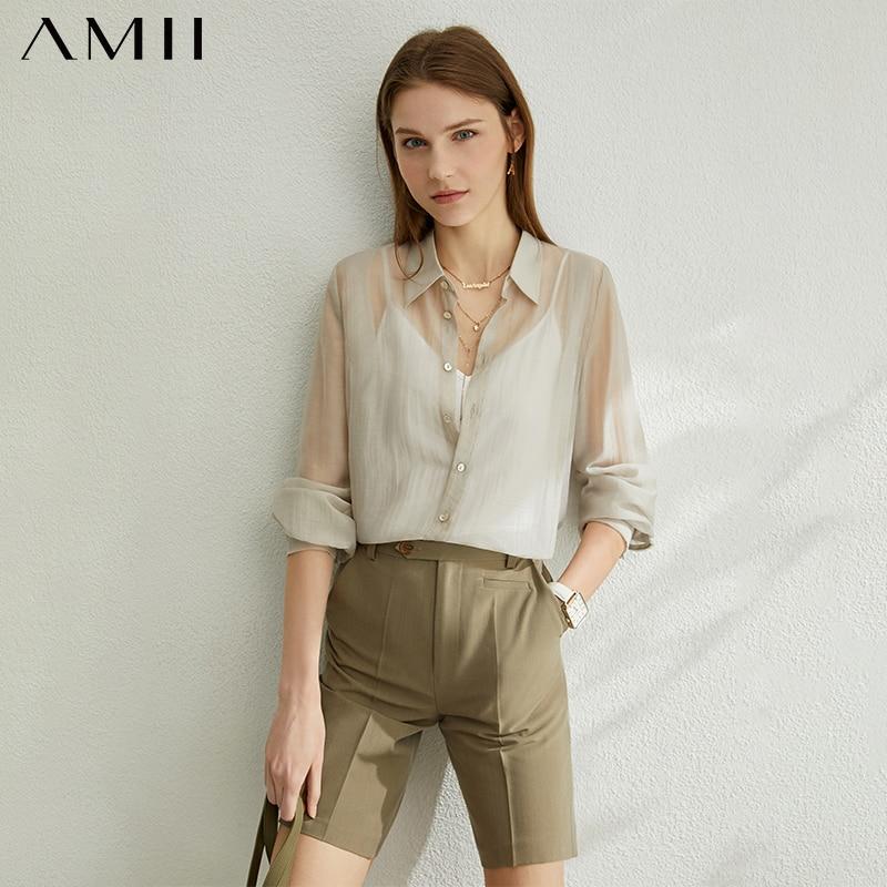AMII Minimalism Spring Summer Tencel Thin Women Shirt Caual Lapel Half Sleeves Loose Female Shirt Tops 12070210