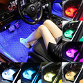 Светодиодный светильник для ног автомобиля, лампа с дистанционным управлением/музыка/Голосовое управление, интерьерный напольный декорат...