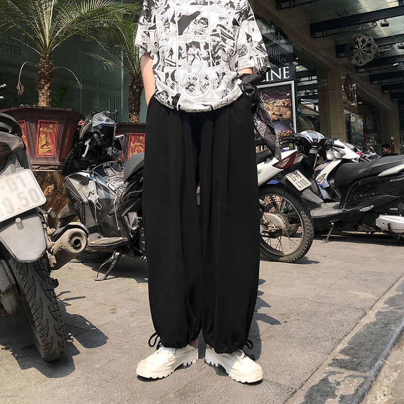 2020 summer new Korean loose beamed bloomers Pants Harajuku style solid color wild couple casual pants for women men trousers