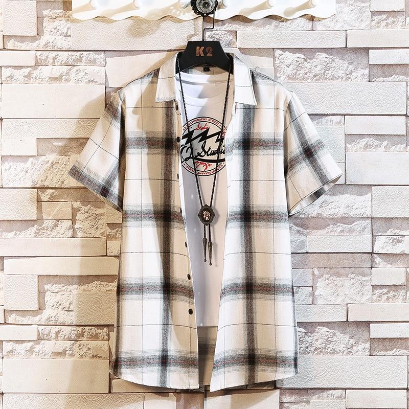 Brand Summer Men's Plaid BLACK WHITE Shirt Fashion Short Sleeve Casual Shirts Plus Asian SIZE M-4XL 5XL
