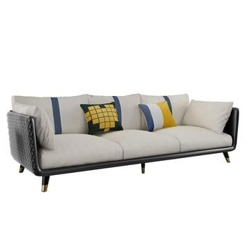Sofá nórdico de cuero de imitación + tecnología, sala de estar pequeña, combinación de sofá moderno