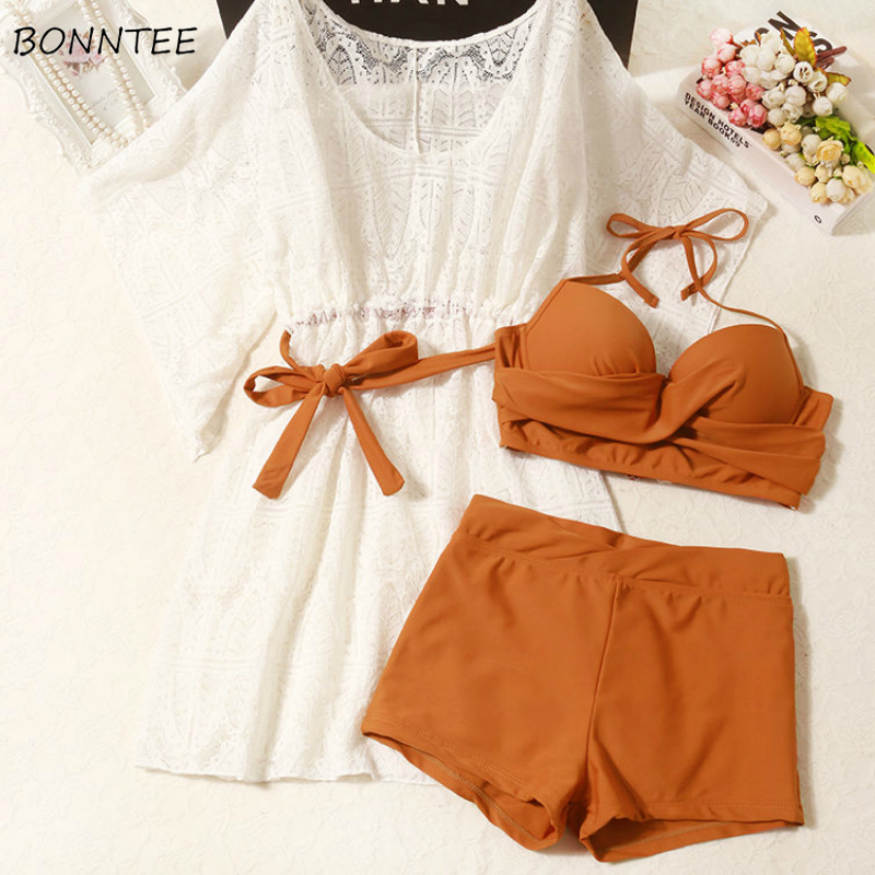 Bikini Set Women Summer New Chic Korean Slim Spaghetti Strap Sexy Soft Ladies Three Piece Swimsuit White Hollow Out Elegant Tops