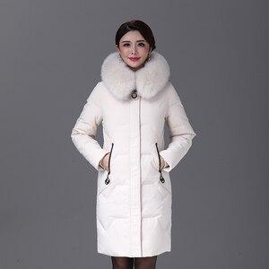 Image 2 - 2019 inverno feminino pato para baixo casaco parka longo ultraleve pena natural real pele de raposa luxo alta qualidade pato para baixo jaqueta #8929