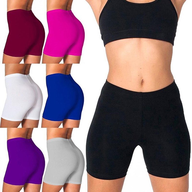 Women Shorts Casual Women High Waist Fitness Sports Biker Shorts Summer Skinny Soft Elastic Bottom Fashion Stretchy Solid Shorts