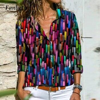 Women Autumn Colorful Pattern Blouses Shirts Fashion Turn-Down Collar Button Shirt Tops 2020 Casual Loose Long Sleeve Blusas 5XL