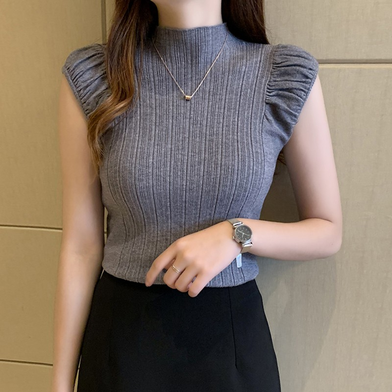 Women's T Shirt Fashion Sexy Slim Solid Bottoming Tops Casual Half Turtleneck Knitted Sleeveless T-Shirt 4