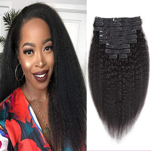 Maxine Hair Remy Kinky Straight clip ins Clip in Human Hair Extensions 8pcs 120g/set clip-in Full Head Human Hair Extension