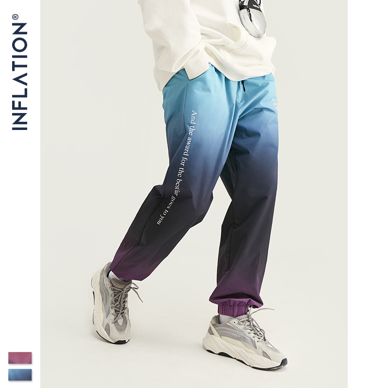 Image 3 - INFLATION 2019 FW Men Die Dye Cargo Pants Loose Fit Men Thin  Cargo Pants Elastic Waist Men Streetwear Tie Dye Pants 93420WHarem  Pants