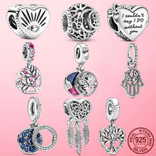 925 Sterling Silver Family Tree Star Moon Beads Heart Hamsa Fatima Hand Charm fit Original Pandora bracelet Silver 925 Jewelry