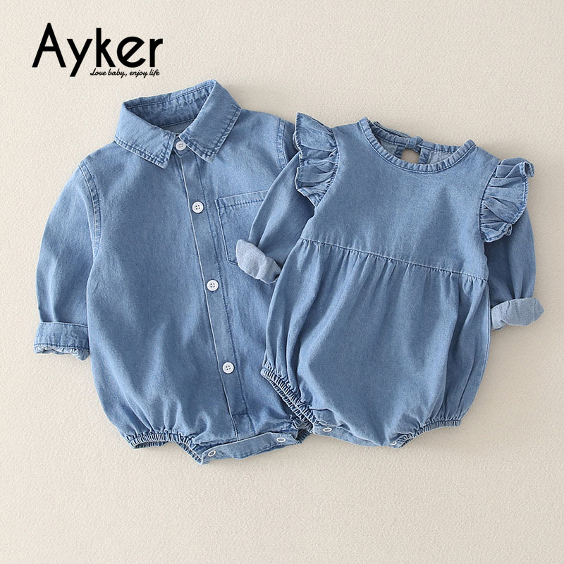 Twins Baby Clothes Long Sleeve Boy And Girls Bodysuit Newborn Baby Shirt Flying Brother Sister Cowboy Boy Girl Twin Clothes