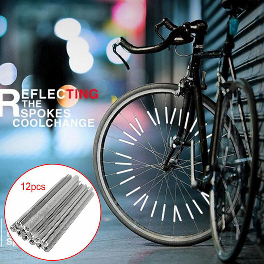 12PCS/bag Cycling Wheel Rim Spoke Bike Mount Tube Warning Light Strip Safety Reflector DIY Bicycle Reflective Tubes Dropship
