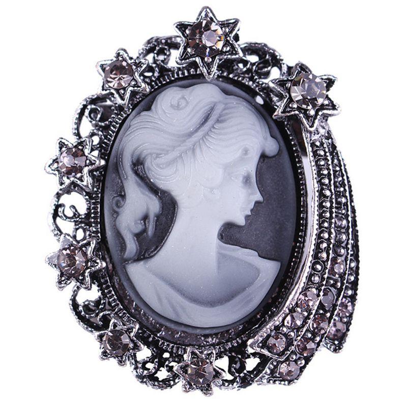 Embossed Vintage Beauty Portrait Badge Embed Rhinestones Stars Lapel Pin Retro Dresses Hat Scarf Decor Accessory Y4QB thumbnail