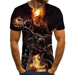 Mens Skull T Shirts Fashion Summer Short Sleeve Ghost Rider Cool T-Shirt 3D Skull Print Tops Rock Fire Skull Tshirt Men