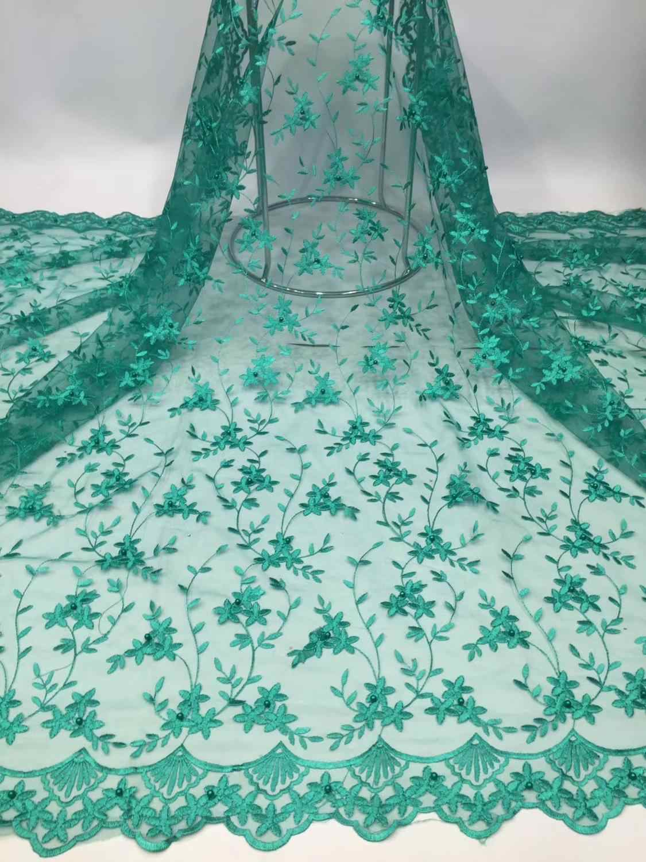 Africano Lagos Perline Tulle di Maglia Tessuti di Pizzo Royal Colore Blu Ricamato In Rilievo Materiale Netto Per La Nobile Signora Tessuto di Cerimonia Nuziale Della Sposa