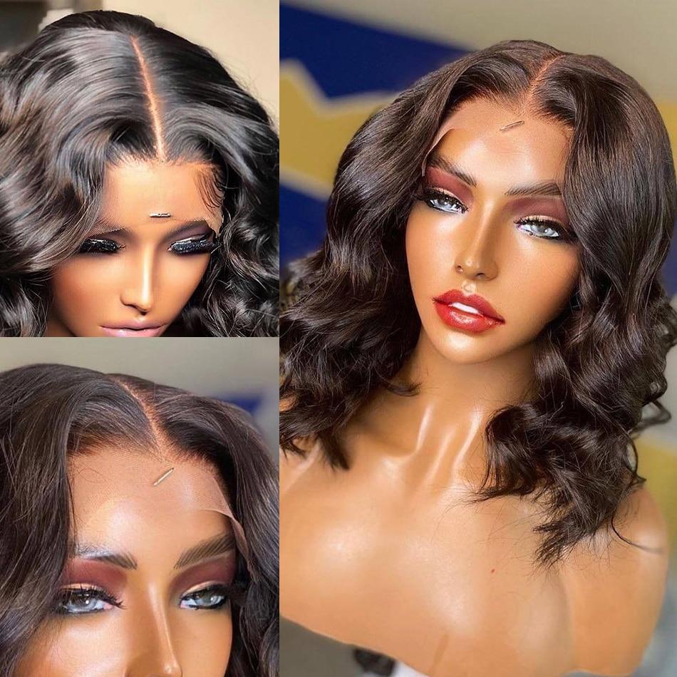 Body Wave Short Bob Wig Ocean Wave Transparent Lace Front Human Hair Wigs Brazilian T Part Lace Wigs 4x4 Lace Closure Wigs Remy