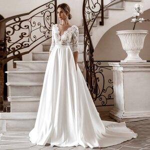Elegant Long Sleeve Lace Wedding Dresses V-Neck Satin A-Line 2020 vestido de novia Bridal Gown Autumn New Vintage Simple