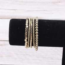 Женские многослойные браслеты из жемчуга с металлическими бусинами