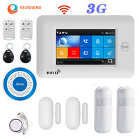 YS 3G WIFI GPRS Multi Net Alarm with mini siren Full Touch Screen IOS Android Control Smart home security alarm host