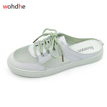 wohdhe Breathable Women Vulcanized Shoes Casual Slip On Mesh Summer Flat White Canvas Shoes Non-slip Sneakers Half Slippers soft slip on shoes women fashion 2019 sneakers autumn casual shoes canvas shoes women white low flat breathable skateboarding