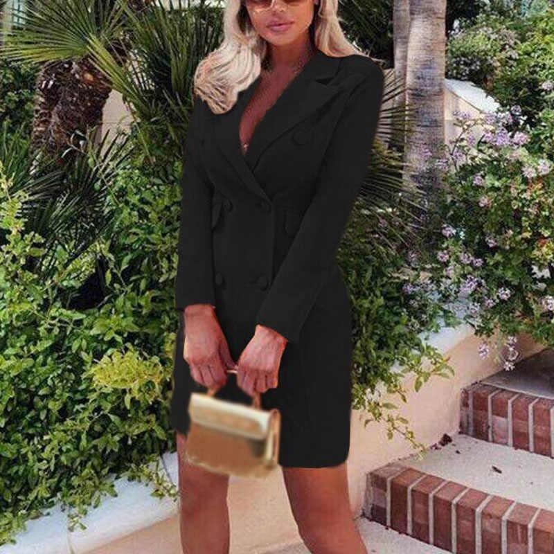 女性ドレスブレザースーツ秋 2019 新ビジネスラペル長袖スリムフィットボタンエレガントな長袖ブレザー上着 Birdtree