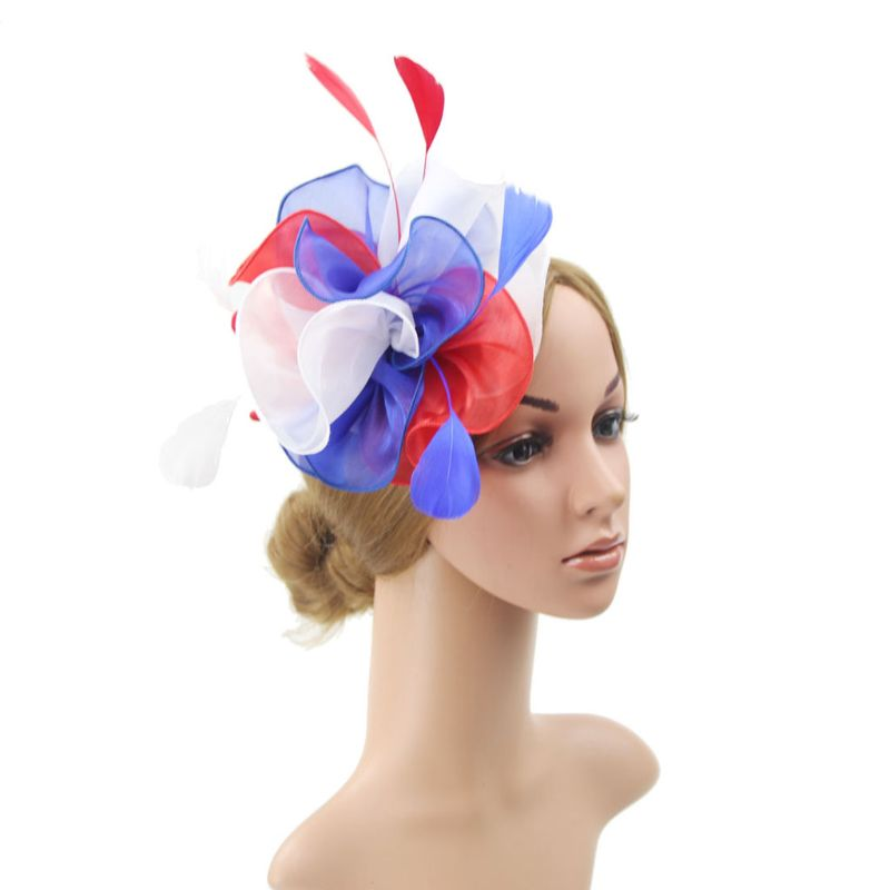 16 Color Women Large Ruffles Flower Fascinator Hat Vintage Solid Color Multi Feather Tea Party Duckbill Hair Clip