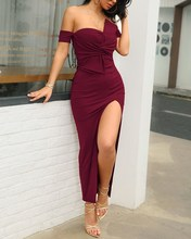 Ruched Sexy Party Dress Elegant Bodycon Club Wear Dresses Vestidos Women Strapless Slit Long Maxi