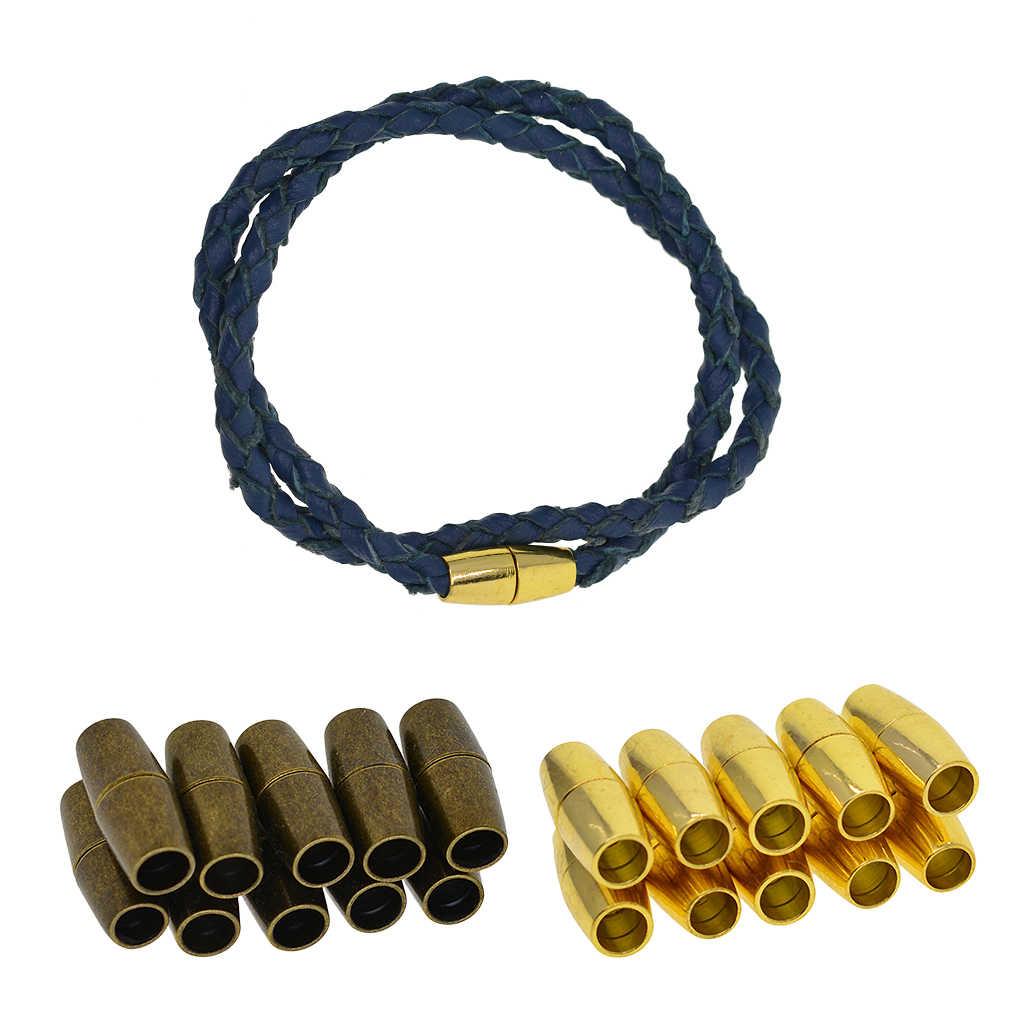 10 conjuntos 4mm de pegamento de agujero interno-en cierre magnético para kumihimo extremos Cordón de Cuero
