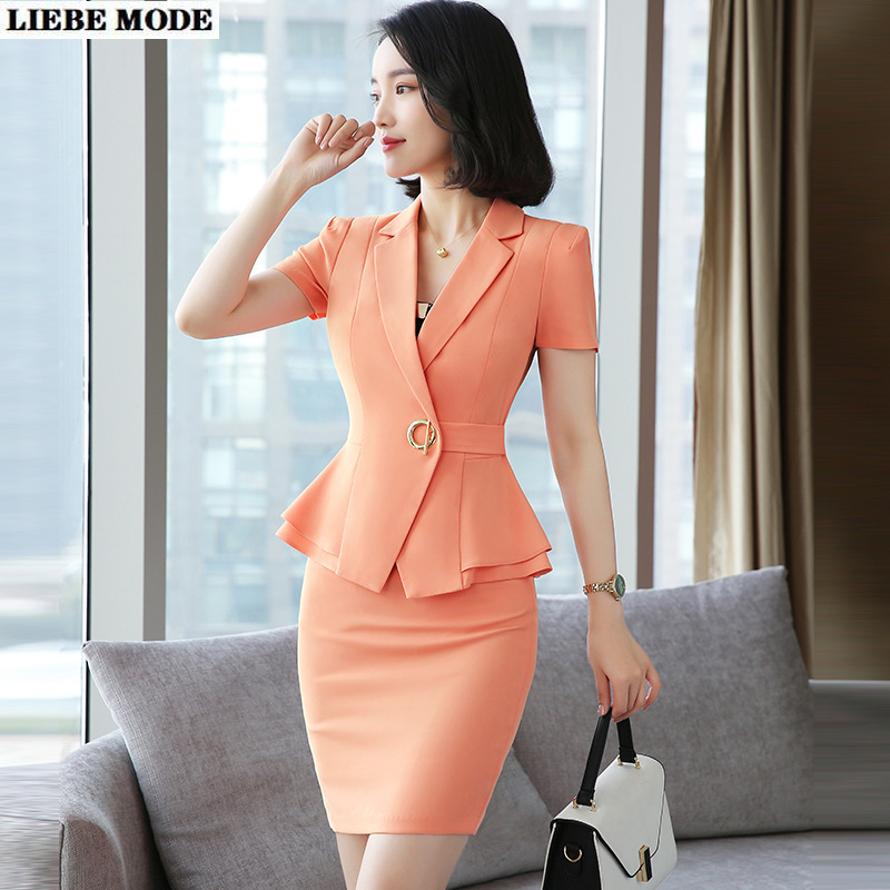 Ruffle Blazer and Skirt 2 Piece Set Summer Women Orange Purple Business Skirt Suit Uniform Short Sleeve Jacket with Mini Skirt