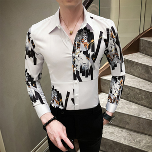 Image 2 - British Style Men Shirt Casual Fashion Spliced Design Digital Print Luxury Shirts For Men Long Sleeve Slim Fit Blouse Men 3XL M