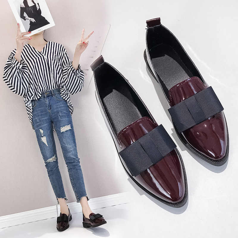 2020 Women British Style Patent Leather Shoes Women's Flat Pointed Shoes Bow Low Heel WOMEN'S Daily Loafers Shoes Thick Work