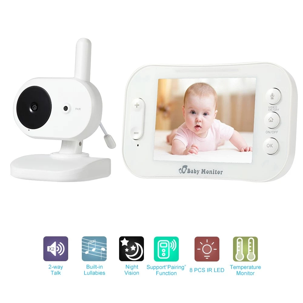 3.5 Inch Wireless TFT LCD Video Baby Monitor Kits Two-Way Audio Video IR Night-Vision Camera Real-Time Temperature Lullabies Bab