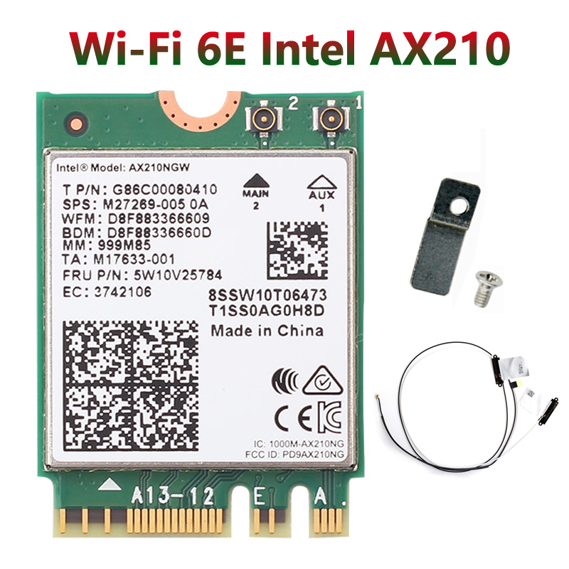 Wi-Fi 6E Bluetooth 5,2 Intel AX210 Dual Band 3000 Мбит/с M.2 Беспроводной карты AX210NGW 2,4G/5G 802.11ax Wi-Fi 6 с 70 см антенна IPEX