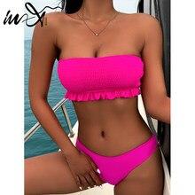 In-x-bikini Bandeau liso para mujer, traje de baño Sexy deportivo con hombros descubiertos, conjunto de 2 piezas, para verano, 2021