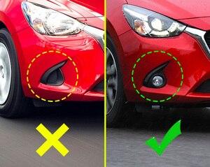 Image 2 - Krom ön sis işık Styling kapağı 2015 2016 Mazda2 DJ DL sis işık Trim kaş Sedan Hatchback aksesuarları