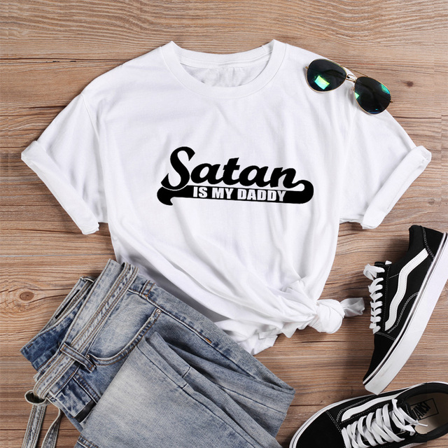 ONSEME T Shirt Women Summer Tops Satan Is My Sugar Daddy Tumblr Girls Shirt Aesthetic Clothing Sugar Baby Kawaii Harajuku Q-849