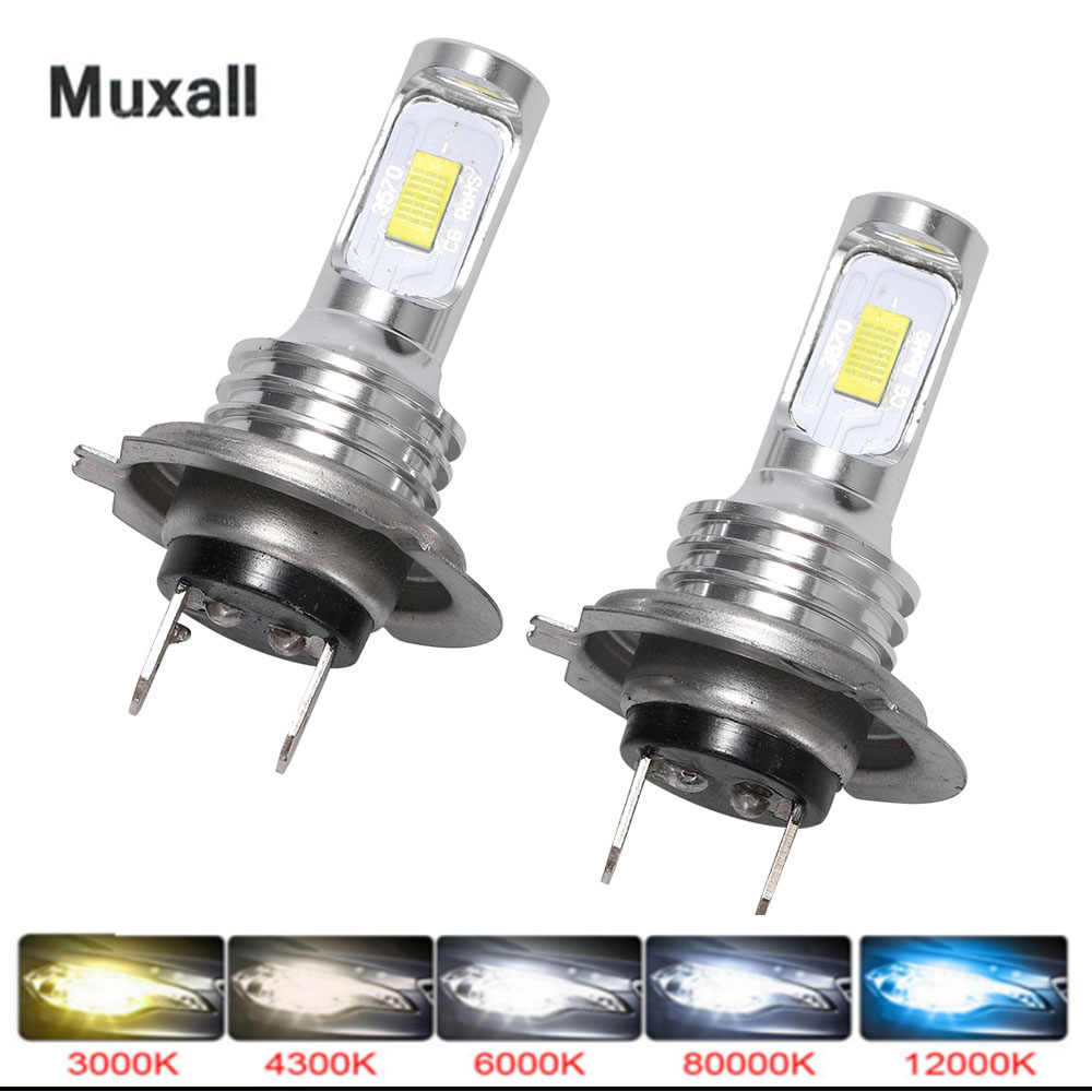 Muxall LED CSP Mini H7 Lampu LED untuk Mobil Headlight Lampu H4 LED H8 H11 Kabut Lampu HB3 9005 HB4 ice Blue 8000K 3000K Auto 12V