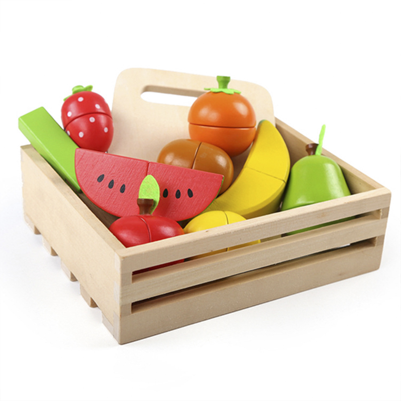 Wooden Pretend Play Toy Classic Game Simulation Kitchen Set Cut Fruits Vegetables Toys Montessori Early Education Play House Toy