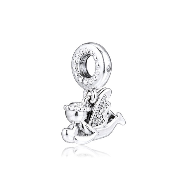 Clear CZ Angel of Love Dangle New 2019 Winter Collection 925 Sterling Silver Charms for Bracelets & Bangles DIY Jewelry Making