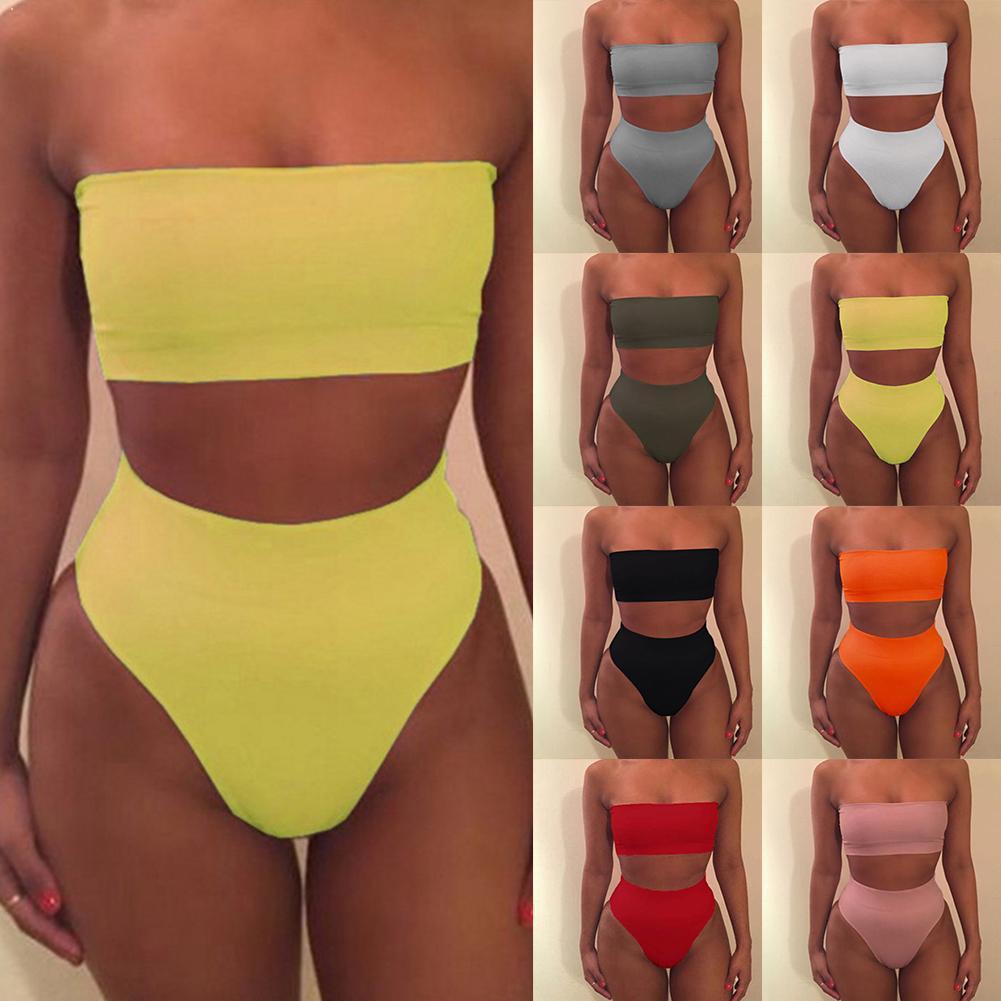 Women Sexy Bikini Set Off Shoulder Wrapped Chest Solid Push Beachwear No Swimwear Swimsuit Bandage Pad Up A4Z0