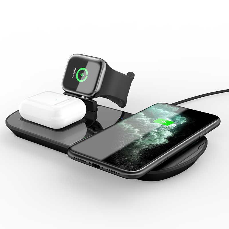 3 ב 1 10W Qi אלחוטי מטענים עבור iphone Xs 11 iWatch סדרת 4 3 Aipods 2 פרו SIKAI מהיר טעינת QC 3.0