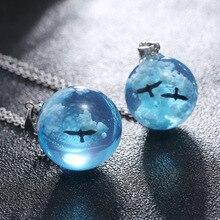 Creative Transparent Luminous Resin Round Ball Pendant Necklace Women Men Fashion Blue Sky Clouds Birds Necklace Jewelry