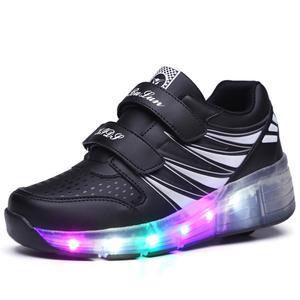 Новые светящиеся кроссовки модные красочные легкие туфли Дети взрослых ультра-световой ролик Heelys коньки кроссовки с колесиками Heelies