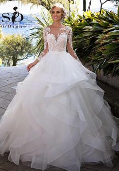 Elegant Lace Appliques Long Sleeve White Ball Gown Wedding Dresses luxury Sexy Tulle Bridal vestido de noiva princesa - discount item  43% OFF Wedding Dresses
