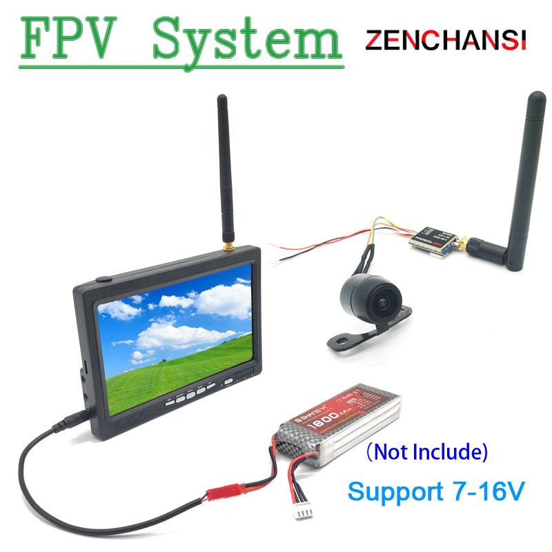 FPV System Wide Voltage 5.8G 40CH 600mw transmitter +FPV mini camera and 5.8g 48CH 7 inch TN HD Fpv Monitor for FPV Racing Drone