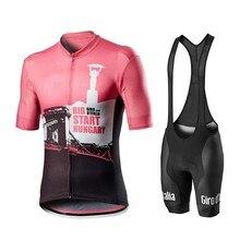 GIRO d Italia-Conjunto de ropa de ciclismo para hombre, camisetas de manga corta, pantalones cortos, maillot