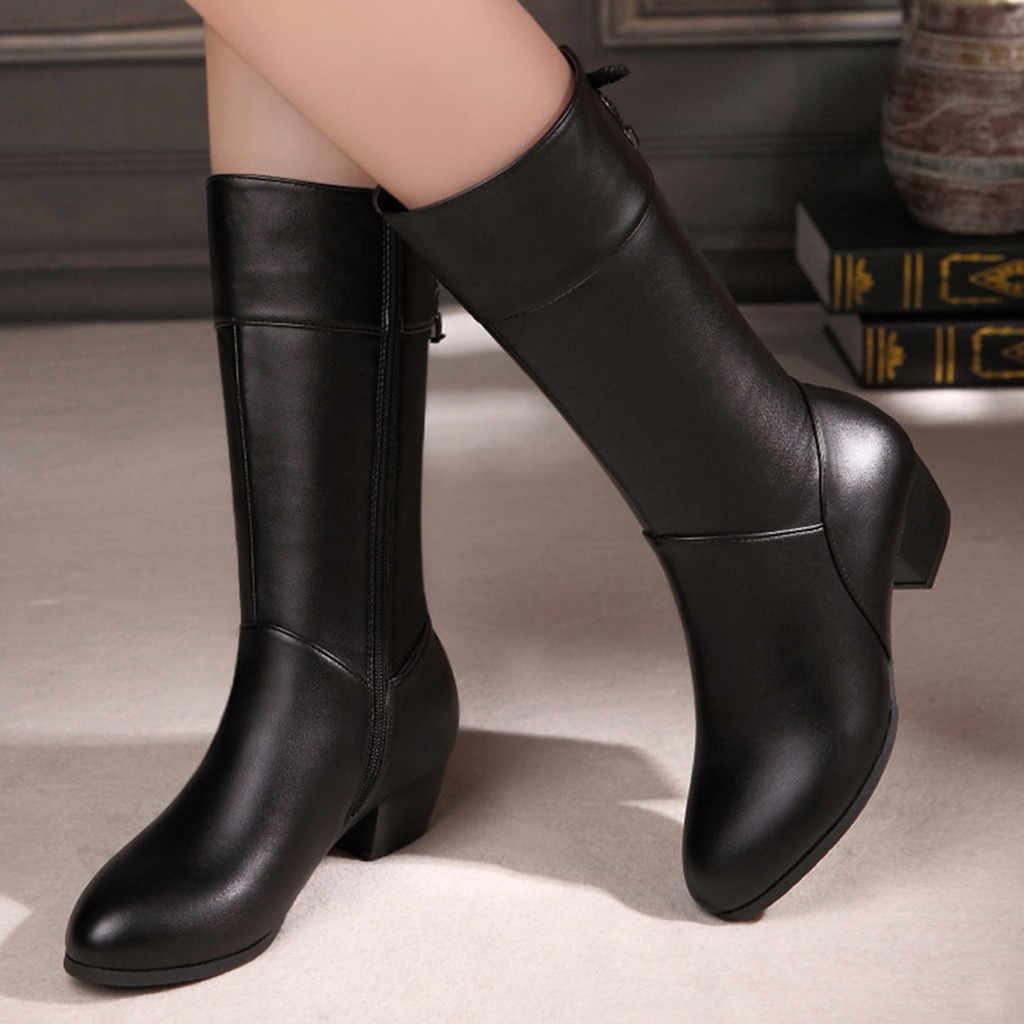 2019 femmes mode bottes femme chaussures hiver chaud à genoux haute botines bout rond fermeture éclair talons carrés chaussures femme bottes de neige #1023