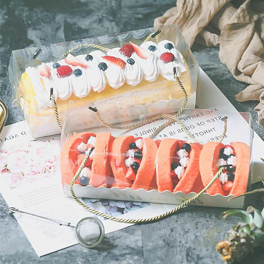 10Pcs Portable Transparent Cake Swiss Roll Boxes PET Packaging Dessert Container Dessert Container with Strap Cake Box